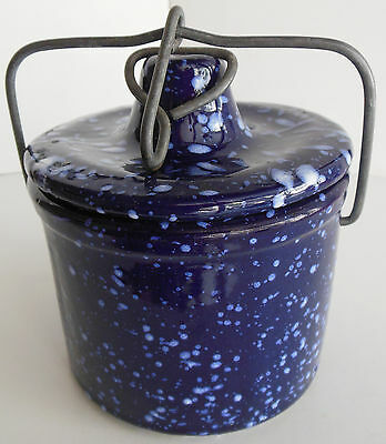 Vintage Blue Agate Glazed Butter Cheese Crock Navy Speckled
