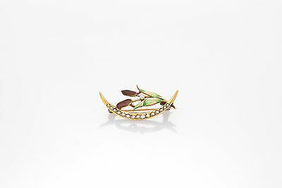 Antique Victorian 1870s CAT TAIL LILY Flower Pearl 14k Gold Enamel Brooch Pin
