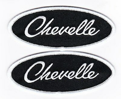 2 Chevelle Ss Black Whitesew/iron On Patch Emblem Embroidered Chevy Chevrolet
