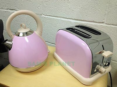 Prolex Pastel Pyramid Kettle and Toaster Set -  PINK