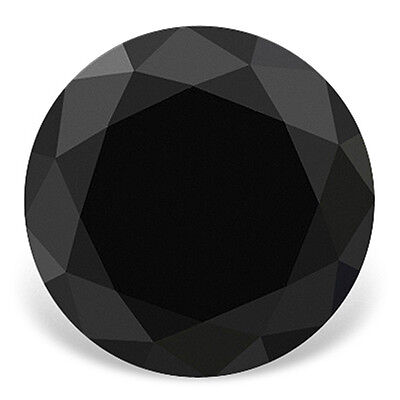 Certified 0.50ct 5mm AAA Quality Real Black Loose Round Brilliant Diamond