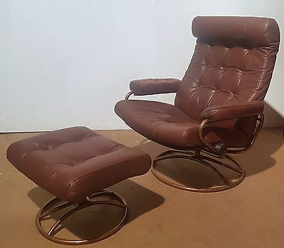 Vintage Ekornes (Stressless) Copper Frame Leather Chair + Footstool