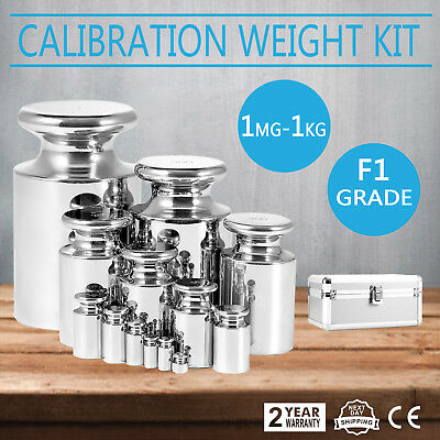 F1 Grade 1mg-1000g Precision Stainless Steel Scale Calibration Weight Kit Set