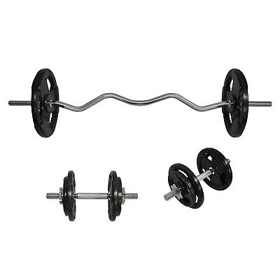 Total 45Kg Ez Grip 120Cm Curl Bar Barbell Weight Set Plus Dumbbell Weight Set