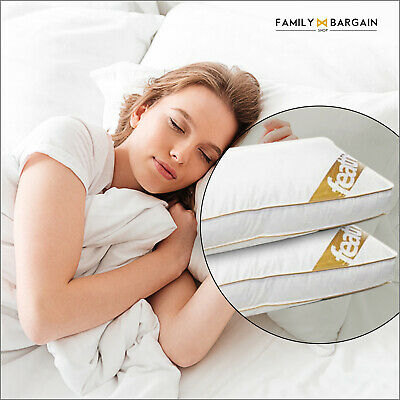 2X Luxury Quality 85% GOOSE Feather and 15% Down BOX Pillows 100% COTTON COVER