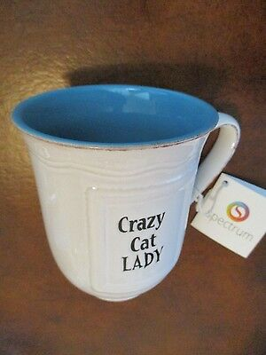 """Crazy Cat Lady"" Large 17 oz. Mug ~ White / Blue Interior ~ Microwave Safe ~ NWT"