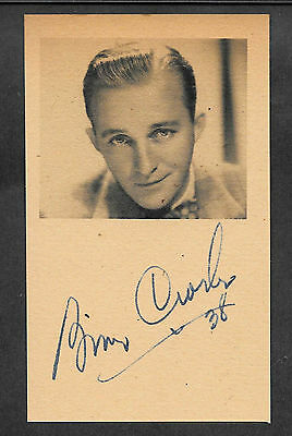 Bing Crosby Autograph Reprint On Genuine Original Period 1930s 3x5 Card