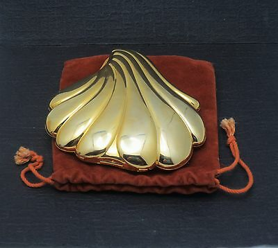 Vintage Goldtone Shell Shaped Two Sided Mirror Compact TIAGO Hong Kong