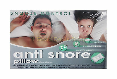 Stop Snoring Snooze Control Anti Snore Pillow Orthopedic Soft Core Head Cradle