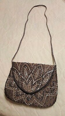 Beaded Gray Satin Evening Formal Purse Bag Made By Genie
