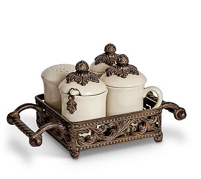 The GG Collection Acanthus Leaf Hostess Set - Cream, Sugar, Sweetener & Sprinkle