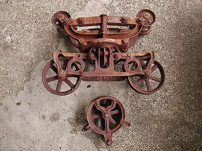 Antique Cast Iron STAR HAY CARRIER TROLLEY BARN w/ Drop Pulley Lighting Fixture