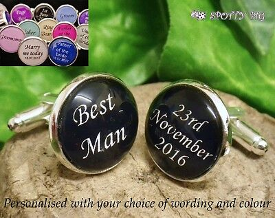 4 FOR 3!! Personalised Cufflinks Wedding Day, Birthday Stag Best Man Usher Groom