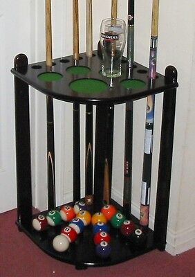 Corner Mahogany Wood 10 Cue Rack Stick Stand Snooker Pool Table Ball Rest Holder