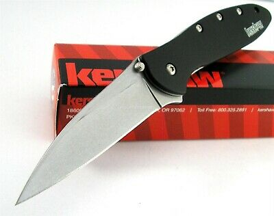 Kershaw USA Leek STONEWASH SpeedSafe Assisted Opening Knife CLAM PACK 1660SWBLK