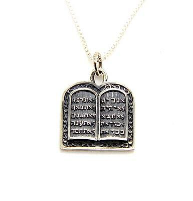 """Ten Commandments pendant with 20"""" Necklace Sterling silver gift boxed"""