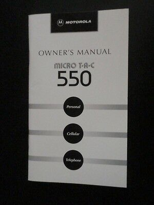 Motorola Vintage Personal Cellular Telephone Owner's Manual ~~ Micro TAC 550
