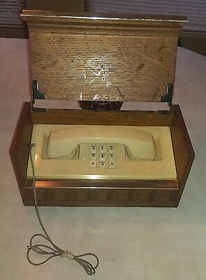Western Electric Executive Hidden Telephone Wood Box Case~Gold Tone Mid Century