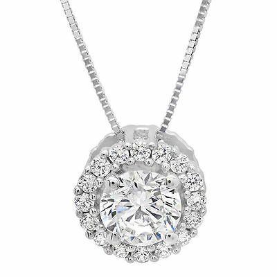 """1.50 ct Round Solitaire Halo Solid 14K White Gold Pendant Necklace +16"""" Chain"""