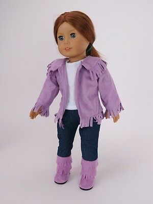 "Lavender fringe western outfit 18"" doll clothes fits American Girl AG"