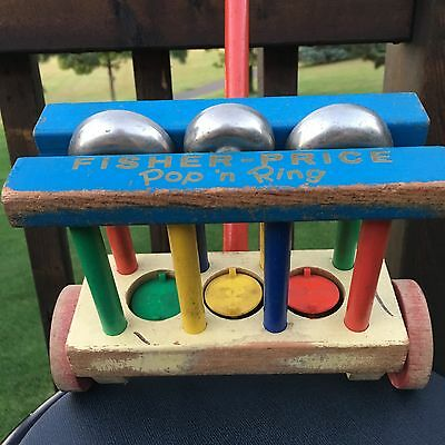 Fisher Price Pop N Ring Walking Vintage Wood Pull Push Toy Works! Made in USA