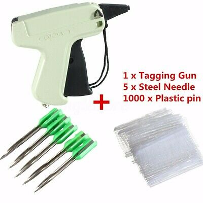 Clothes Garment Sock Price Label Tagging Tag Gun+1000 Tag Barbs + 5 Needles HOT