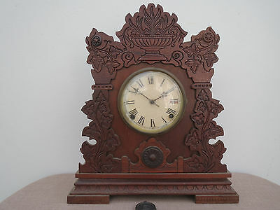 Antique American Walnut Sessions Mantle Clock, Striking, Brisbane Collection
