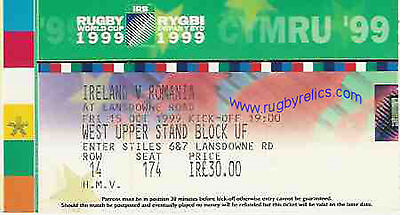 IRELAND v ROMANIA RUGBY WORLD CUP 1999 TICKET