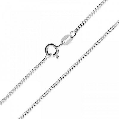 1.1 mm 925 Sterling Solid Silver Curb Chain Necklace  Gift 14 16 18 20 22 24''