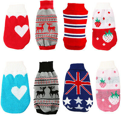 Small Pet Dog Coat Winter Clothes Puppy Cat Warm Sweater Knitted Costume Apparel