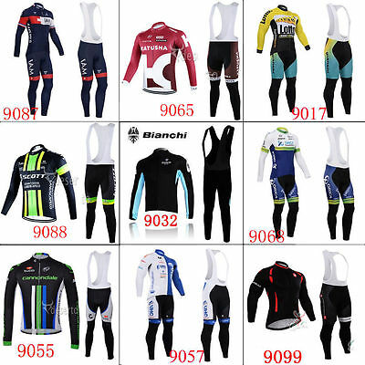 Thermal Fleece long sleeve Men's team cycling jersey set Bib pants 2015 winter