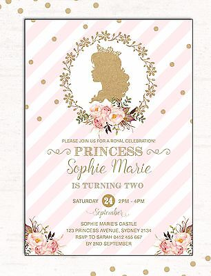 PRINCESS Invitation Pink Gold Glitter First Birthday Invite Party Supplies Girls