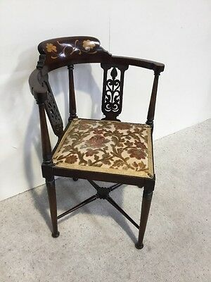 Antique Art Nouveau Inlaid Mahogany Corner Chair Very Good Inlaid Detail