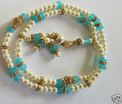New White Pearl with Blue TASBIH MISBAHA MUSLIM ROSARY WORRY 99 BEADS