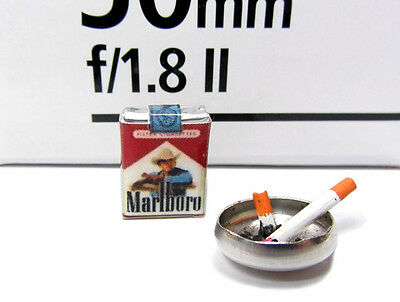 Dollhouse Miniature Marlboro cigarettes pack and ashtray with butts
