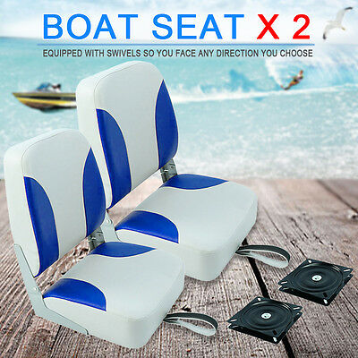 1pair Blue And White Marine Speedboat Folding Fishing Boat Seats Seat Chair
