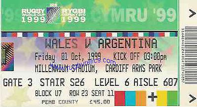 Wales V Argentina Rugby World Cup 1999 Ticket