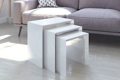 Modern High Gloss Nest of Tables White Retro Furniture Side Coffee Table Set 3