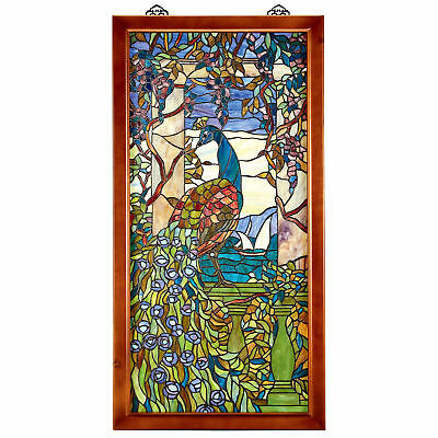 Design Toscano Peacock with Wisteria Wood-Framed Stained Glass Window
