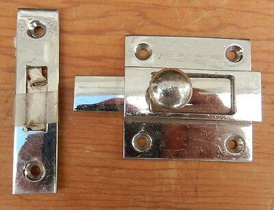 Chrome Plate Cast Brass Sliding Latch Cabinet Cabin Nautical Ship $4.95 - $5 OFF