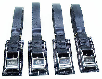 4-pack of 3.0m TOUGH PADDED Cam Buckle Straps Black - Lashing Strap Trailer Belt