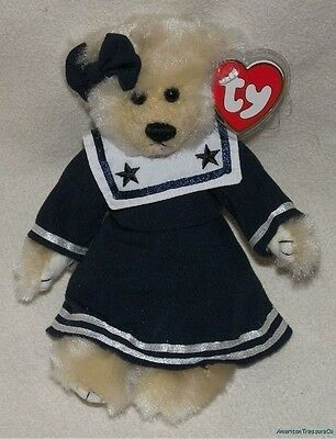"New 1993 TY ATTIC Plush Fluffy Cream 8"" Jointed BREEZY The Navy SAILOR GIRL BEAR"