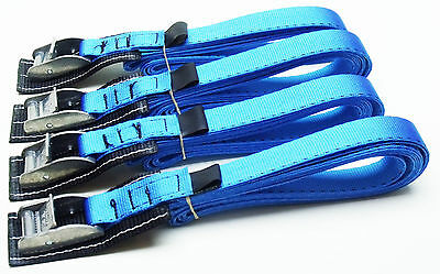 4-pack: 3.0m x 25mm Blue PADDED Cam Buckle Endless Lashing 400kg; Cargo Straps