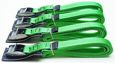 4-pack: 3.0m x 25mm Green PADDED Cam Buckle Endless Lashing 400kg; Cargo Straps