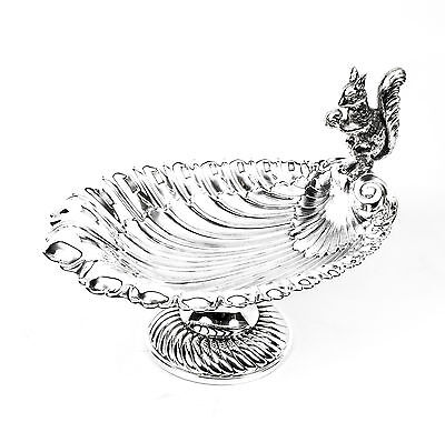 Antique Victorian Silver Plated Squirell  Nut Dish C1900