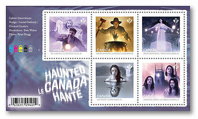 2016 Canada Haunted (series 3) 5 stamp M/S unusual foil holographic 3d image