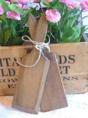6) Vintage Pair Of Wooden Butter Pats With Ridged Detailfab Display Kitchenalia