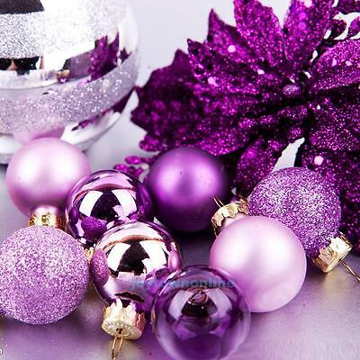 24Pcs Large Glitter Wedding Party Balls Baubles Xmas Tree Hanging Ornament Decor
