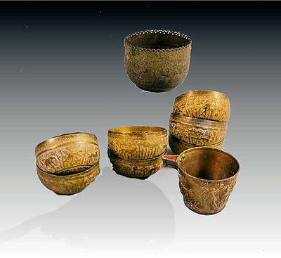 LOT Of 9 Indian BRASS bowls engraved with hunting scene