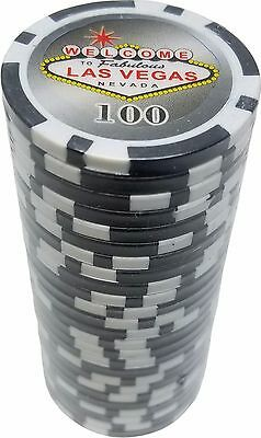 Poker Chips (25) 100 Las Vegas Sign 11.5 gram Clay Composite FREE SHIPPING *